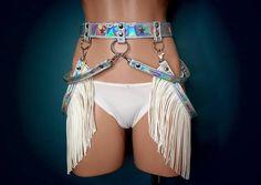 147e49f23b1 Holographic White Fringe Studded Harness Belt . Vegan Leather Belt .  Fashion Booty Biker Belt .
