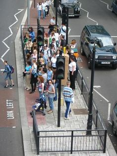 Crowded pedestrians in London aren't given the same voice as motorists or even cyclists in their built environment.