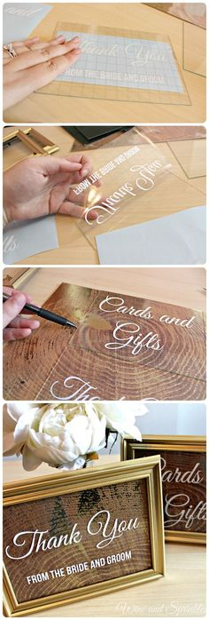 Wedding signs are the often overlooked detail in weddings that are so easy to DIY with a Cricut and make yourself! I have designed two simple ones for the Gift Table and Favor Table with white vinyl lettering, gold frames and scrapbook paper. This bride i