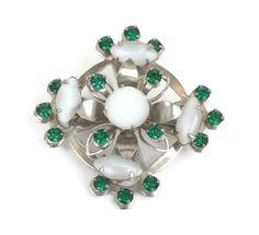 Vintage #Celtic Design Pin Glass Moonstones Green Stones #stpatricksday #giftidea