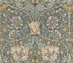 William Morris ~ Honeysuckle ~ by PeacoquetteDesigns on Spoonflower ~ bespoke fabric, wallpaper, wall decals & gift wrap ~ Join PD ~ https://www.facebook.com/PeacoquetteDesigns