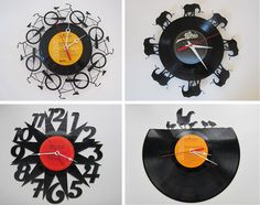 Vinyl Records made into laser-cut recycled repurposed clock art