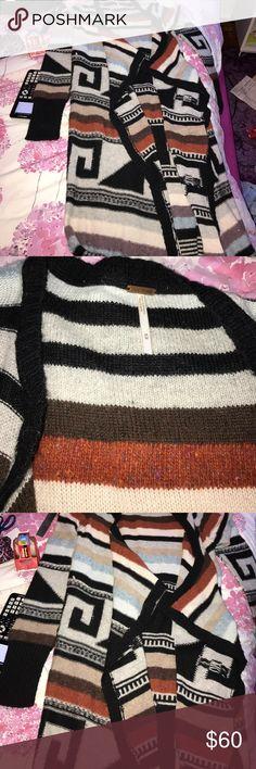 Free people long cardigan sweater Tribal patterned. Long sleeve. Wool. Free People Sweaters Cardigans