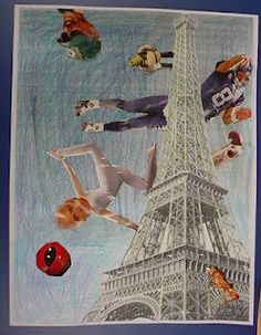 Surrealist Collage- We started with a photocopy of a famous place, hand-colored it, and added magazine photos.