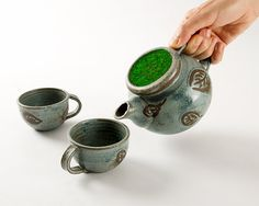 Ceramic teapot and two cups, blue with leaves, green glass, handmade, Series: tea for two (No. A-te-1)