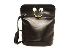 Hermes Vintage Black Leather Looping Closure Saddle Shoulder Bag