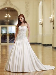 Satin Modified Sweetheart Covered Pattern Bodice A-line Wedding Dress
