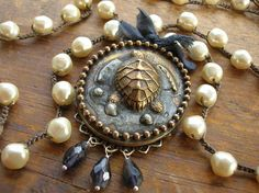 Artisan boho jewelry crochet pearl necklace vintage locket