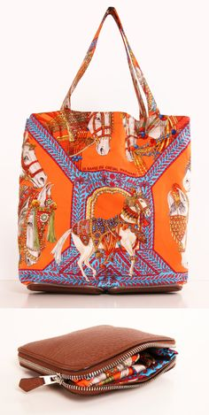 Orange Hermes silk collapsible tote with brown leather zip bottom <3
