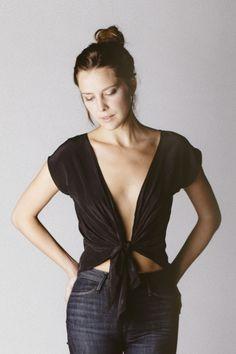 Silk tie top, reversible - Maxine crop $98