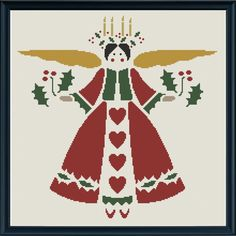 Easy Christmas Angel Cross Stitch Pattern: turn it into applique