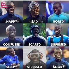 Which N'Golo Kanté mood are you today? Chelsea Team, Chelsea Football, Portugal Football Team, Fifa, Football Players Images, Funny Football Memes, N Golo Kante, Lional Messi, Pogba