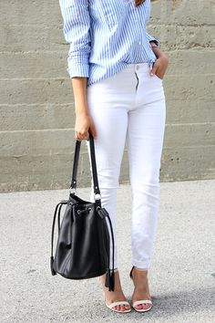 Pinstriped Shirt + White Jeans... By  mytrendyheart.com