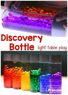 Rainbow Discovery Bottles - This is a great sensory experience for the light table! - Play to Learn Preschool Color Activities, Sensory Activities, Infant Activities, Sensory Play, Autism Sensory, Sensory Boxes, Sensory Table, Diy Light Table, Ec 3