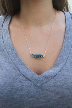 Blue Agate Pendant Necklace Agate Slice by WanderandLustJewelry, $42.00