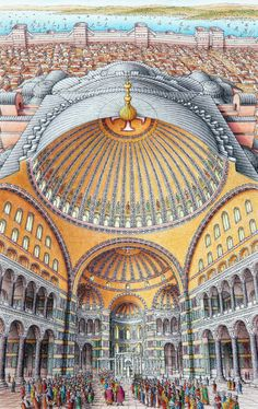 sectional view of the Hagia Sophia - Istanbul, Turkey - showing how the pendentives and semi-domes support the central dome built 532-37 architects: Anthemios of Tralles, Isidorus of Miletus
