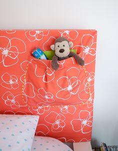 How to make a headboard slipcover with storage pocket - IKEA hack