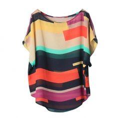 $6.16 Scoop Neck Irregular Stripe Print Colormatching Chiffon Blouse