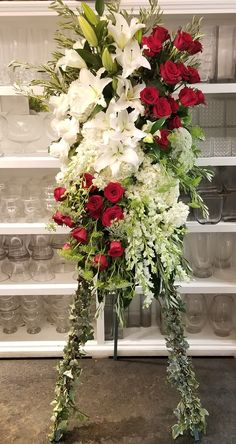 Send Red and White Tribute Spray in Beverly Hills, CA from Apropos Floral & Event Design, the best florist in Beverly Hills. All flowers are hand delivered and same day delivery may be available. Casket Flowers, Funeral Flowers, Wedding Flowers, Funeral Floral Arrangements, Flower Arrangements, Colorful Flowers, Silk Flowers, Funeral Caskets, Funeral Sprays
