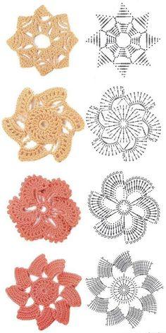 Flores em Crochê com Gráfico - Katia Ribeiro Crochê Moda e Decoração