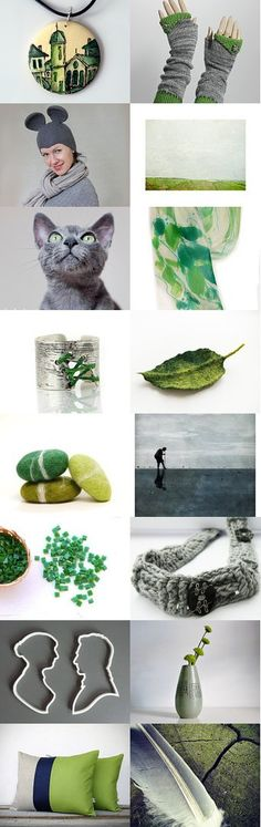 Cats and mice in green and grey by Renata on Etsy--Pinned with TreasuryPin.com