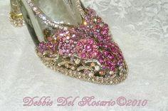 jeweled High Heel shoes | Beautiful Cinderella Pink High Heel Jeweled Shoe Show Stopper