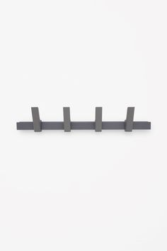 BEAM COAT RACK - This five-hook coat rack is made from sturdy aluminium with a powder-coated finish. The rack can also be used as a shelf to display prints or store smaller items. Coat Hanger, Spare Room, Danish Design, Apartment Therapy, Beams, Shelves, Hooks, Prints, Slate