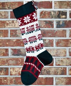 Knit Christmas Stocking 100 Wool  Trains by AngoraValley on Etsy, $70.00