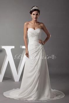 Bridesire - A-line Sweetheart Court Train Sleeveless Chiffon Wedding Dress [BDH1150] - US$172.99 : Bridesire