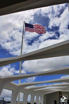 Flag over U.S.S. Arizona Memorial - Pearl Harbor, Oahu, Hawaii by isaac.borrego, via Flickr