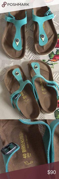 73611de0c9ff60 Birkenstock leather sandals EUC Birkenstock leather sandals excellent used  condition turquoise green like color Birkenstock Shoes Sandals