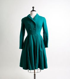 Vintage Princess Coat  1960s Teal Green Double Breasted by zwzzy, $110.00