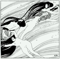 Art Nouveau - stylized female figures, stylized water and hair, japanese woodblock inspired print, pattern, line, natural motifs Gustav Klimt The Blood of Fish 1898