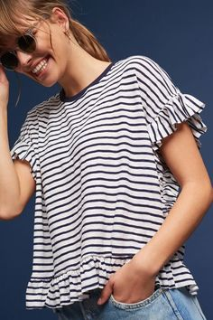 drake ruffled striped tee