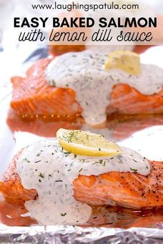 A quick and easy dinner that's healthy and delicious! Yogurt based dill sauce is so bright and fresh- your family will love you for this one. Baked Salmon Filets, Baked Salmon Lemon, Baked Salmon Recipes, Seafood Recipes, Dill Sauce For Salmon, Lemon Dill Sauce, Filet In The Oven, Salmon Dishes, Seafood Dinner
