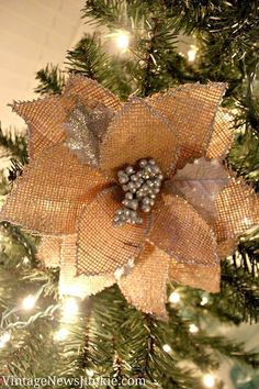 How to make burlap poinsettia christmas ornaments rustic charm how to make a burlap flower christmas ornament video tutorial solutioingenieria Gallery