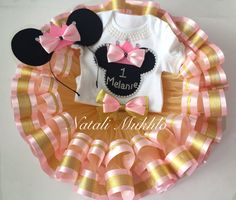 Pink and gold Minnie Mouse birthday tutu outfit Minnie tutu