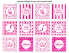 DIY  Preppy Couture  Printable Party Circles 2in by CupcakeExpress, $10.00