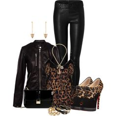 """Leopard and Black"" by laaudra-rasco on Polyvore"
