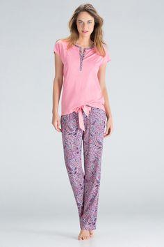 Pyjama long à imprimé cashmere | women'secret Womens Pj Sets, Night Suit, Lazy Day Outfits, Women Wear, Ladies Wear, Best Lingerie, Culottes, Pajamas, Pjs
