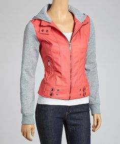 Take a look at this Coral & Gray Layered Hoodie by Style Storm: Jackets & Coats on @zulily today!