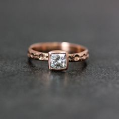 Moissanite and 14k Rose gold Champagne Engagement by onegarnetgirl