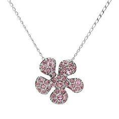 Dazzling necklace with genuine crystals made of silver base metal. Total item weight 9.0g. Gemstone info: crystal with round shape and pink color.