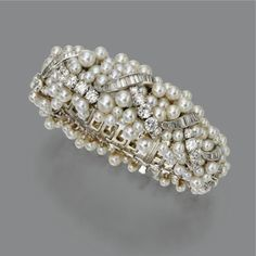 cultured pearl and diamond braclet