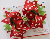 Set of 2 Hairbows, Christmas Bows, Bow Tie Hairbows, Tuxedo Hair Clips, Red White Polka Dot, 2.5 Inch, Toddler Hairclips, Hair Accessory. $4.25, via Etsy.