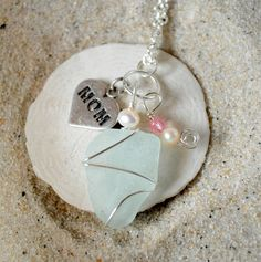 Seaglass Necklace for Mothers Day with Heart by ShatteredSmooth, $15.00