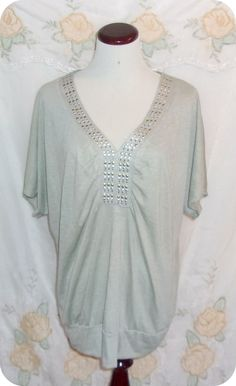 Lena Womens Top Plus Size 18/20 Sage Green Studded Short Sleeve Polyester Rayon  #Lena #KnitTop #CareerCasual #Fashion #Clothing #Womens #Plussize #Top