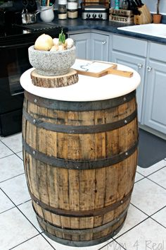 Make a table or kitchen island using a whiskey barrel or bourbon barrel!