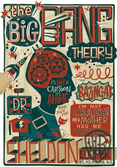 "'The Big Bang Theory' In Pictures -  Cog-nition, by Steve Simpson, 24""H x 18""W, silkscreen."