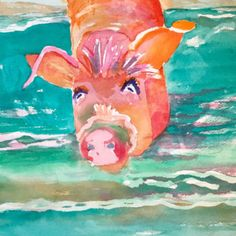 SHOP my new Coastal Watercolors available at Palette Home! These translucent watery paintings are inspired by my love of the ocean and all things coastal. Watercolor Paintings, Original Paintings, Original Art, Pig Island, Art For Sale, Cow, Coastal, Great Gifts, Palette